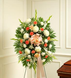 Deepest Sympathy Standing Spray-Peach/Orange/White